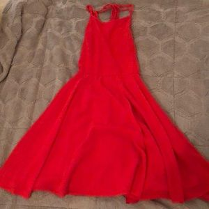 Red lulus strap back homecoming dress !!